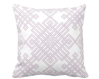 "OUTDOOR Interlocking Geo Throw Pillow or Cover, Dusty Mauve/White 16, 18 or 20"" Sq Pillows or Covers, Purple/Pink Trellis Print"