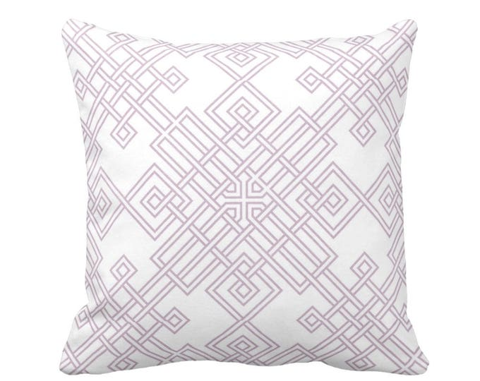 """Interlocking Geo Throw Pillow or Cover, Dusty Mauve/White 16, 18, 20, or 26"""" Sq Pillows or Covers, Purple/Pink Trellis Print"""