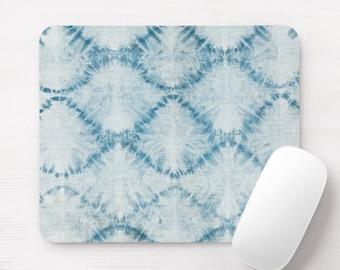 Indigo Mud Cloth Mouse Pad/Mousepad, Hand-Dyed Tribal Blue/Denim Print