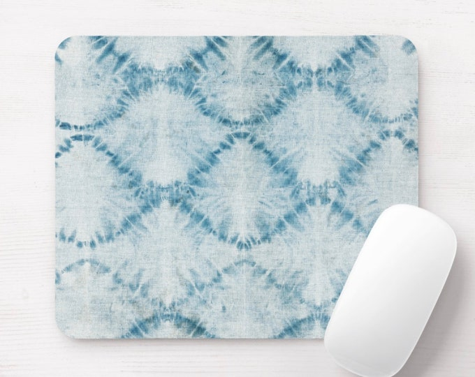 Indigo Mud Cloth Mouse Pad/Mousepad, Hand-Dyed Tribal Blue/Denim Print