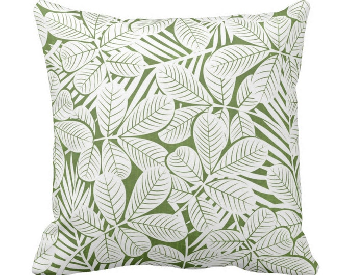 "Modern Leaves Throw Pillow or Cover Kale/White Print 14, 16, 18, 20 or 26"" Sq Pillows or Covers Dark Green Retro Tropical Print"