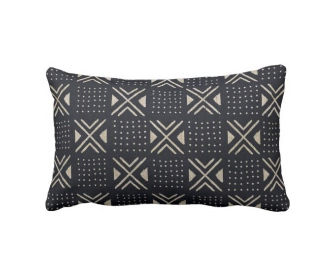 "Mud Cloth Print Pillow or Cover, Black/Off-White 14 x 20"" Lumbar Throw Pillows or Covers, Mudcloth Dots, X's Geo/Boho/Tribal"