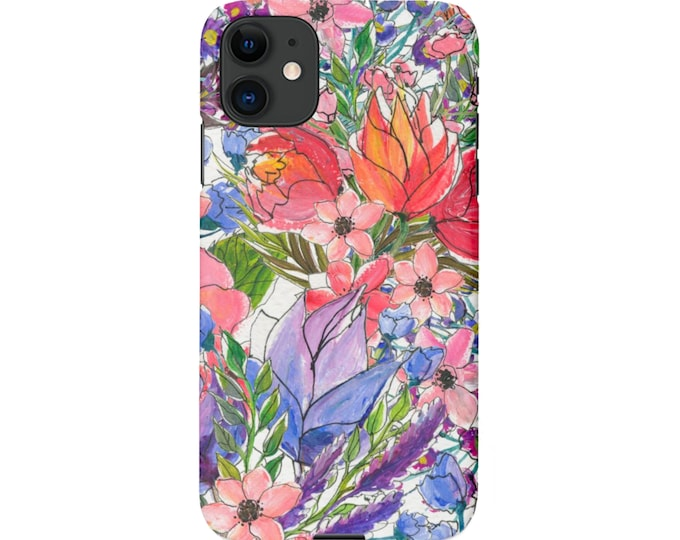 Sketch Floral iPhone 11, XS, XR, X, 7/8, 6/6S P/Pro/Plus/Max, Snap Case or Tough Protective Cover, Colorful Art/Flower/Flowers Print Galaxy