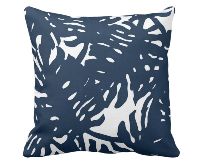 """OUTDOOR Palm Silhouette Throw Pillow or Cover Navy/White 16, 18 or 20"""" Sq Pillows or Covers Tropical/Leaf/Leaves/Palms Print/Pattern"""