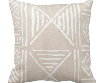"""OUTDOOR Mud Cloth Printed Throw Pillow or Cover, Clay/White 14, 16, 18, 20, 26"""" Sq Pillows/Covers, Mudcloth/Boho/Geometric/African Print"""