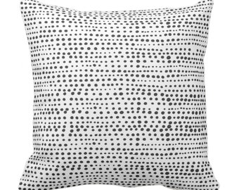 """Dot Line Throw Pillow or Cover, Black/White Print 14, 16, 18, 20, 26"""" Sq Pillows/Covers, Dots/Lines/Geometric/Geo/Abstract/Modern/Farmhouse"""
