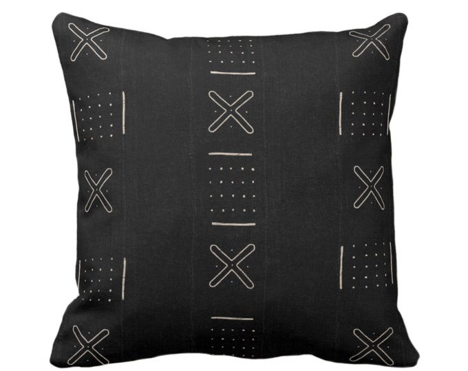 """Mud Cloth Print Throw Pillow or Cover, X Outline & Dots Black/Off-White 16, 18, 20, 26"""" Sq Pillows/Covers, Mudcloth/Boho/Cross/Tribal/Design"""