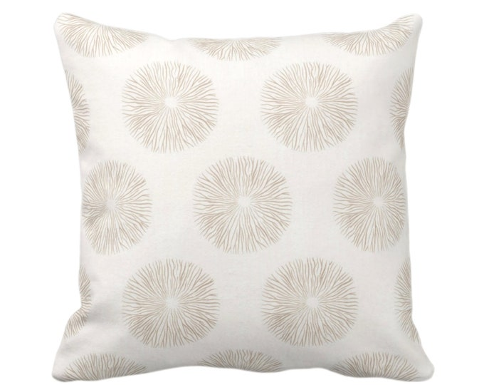 "Sea Urchin Throw Pillow or Cover, Sand/Off-White 16, 18, 20 or 26"" Sq Pillows or Covers, Beige/Tan Modern/Starburst/Geometric Print"