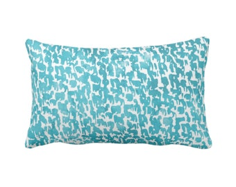 "Teal Speckled Print Throw Pillow or Cover 14 x 20"" Lumbar Pillows/Covers, Bright Aqua/Turquoise Abstract/Marbled/Spots/Dots/Painted/Dashes"