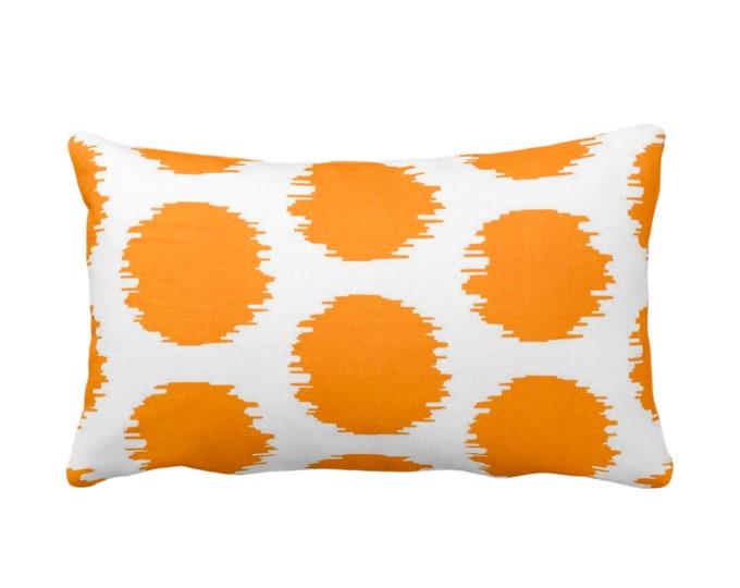 "Ikat Dot Throw Pillow or Cover, Orange/White 14 x 20"" Lumbar Pillows or Covers, Mellon Scribble/Dots/Spots/Spot/Circles/Polka Print/Pattern"