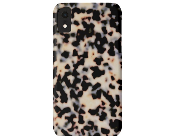 Tortoise Shell Phone 11, XS, XR, X, 7/8, 6/6S P/Plus/Max, Slim or Tough Protective Cover Beige/Black Faux/Printed Tortoiseshell Print