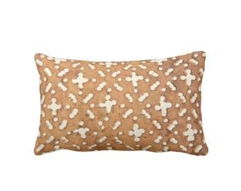 "Mud Cloth Print Throw Pillow or Cover, Camel/ White 14 x 20"" Lumbar Pillows or Covers, Tribal/Traditional/Geo/Geometric, Tan"