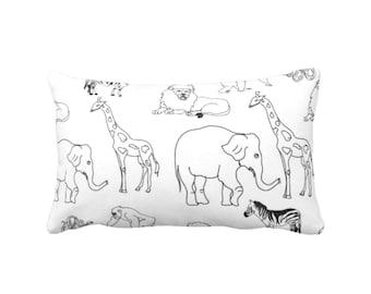 "Nursery Animals Throw Pillow or Cover, Black/White Modern Print 14 x 20"" Lumbar Pillows/Covers, Gender Neutral/Elephant/Giraffe Pattern"