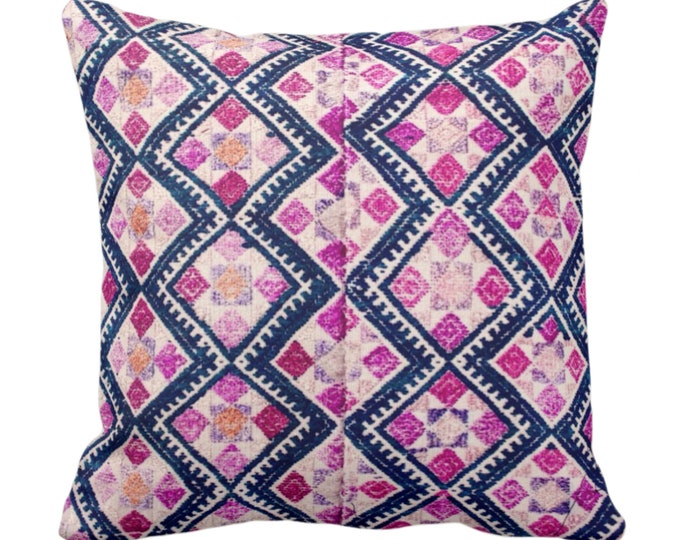 """OUTDOOR Chinese Wedding Blanket Printed Throw Pillow or Cover, 14, 16, 18, 20"""" Sq Covers Vintage/Tribal/Geometric/Diamond Navy/Pink/Purple"""