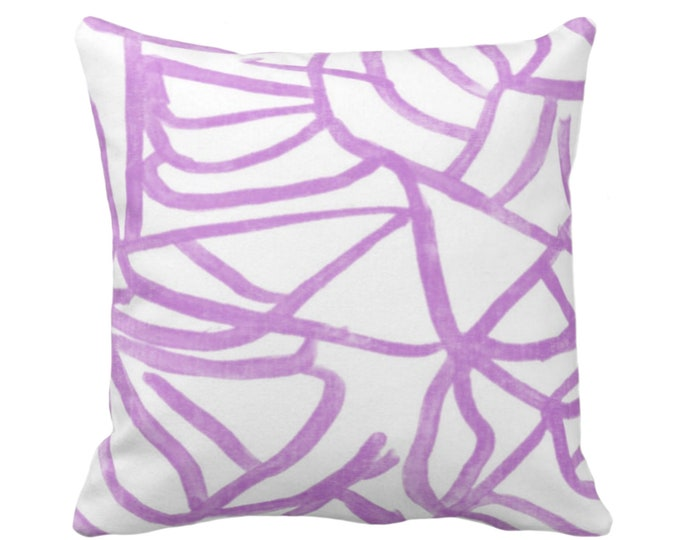 "OUTDOOR Abstract Throw Pillow or Cover, White/Orchid 16, 18, 20"" Sq Pillows Covers, Purple Painted Modern/Lines/Geometric Painting Print"