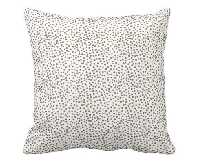 "READY 2 SHIP Confetti Dots Throw Pillow Cover, Dark Gray & Cream Print 16"" Sq Pillow Covers, Black/Ebony/Off-White Scatter Dot"