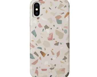 Terrazzo Print iPhone 11, XS, XR, X, 7/8, 6/6S Pro/Max/Plus/P Snap Case or Tough Protective Cover Taupe/Sand/Pink/Green Abstract Geometric