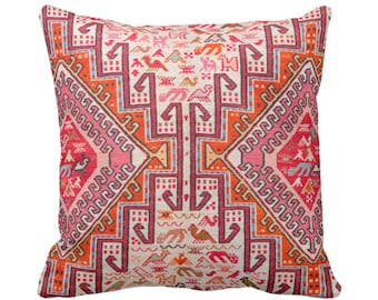 "OUTDOOR Ready to Ship Colorful Kilim PRINTED Throw Pillow Cover Boho Rug Print 20"" Sq Pillows/Covers Tribal Pink/Orange/Red, Geo/Geometric"