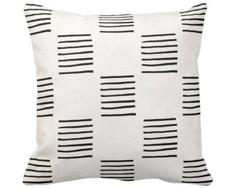 """OUTDOOR Mud Cloth Print Throw Pillow or Cover, Lines Off-White/Black 14, 16, 18, 20, 26"""" Sq Pillows/Covers, Mudcloth/Boho/Tribal/Geometric"""