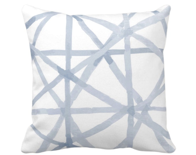 """OUTDOOR Painted Lines Throw Pillow or Cover, White/Chambray 16, 18, 20"""" Sq Pillows Covers, Light Blue Modern/Lines/Star/Geometric/Geo Print"""
