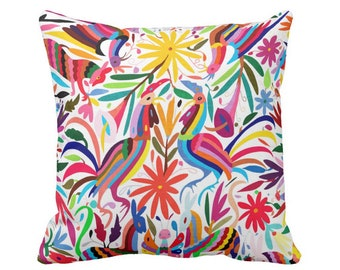 """SALE - OUTDOOR Colorful Reds Otomi 16, 18, 20"""" Printed Sq Throw Pillow Cover, Floral/Flowers/Mexican/Boho/Animals/Rooster/Birds Bright Print"""