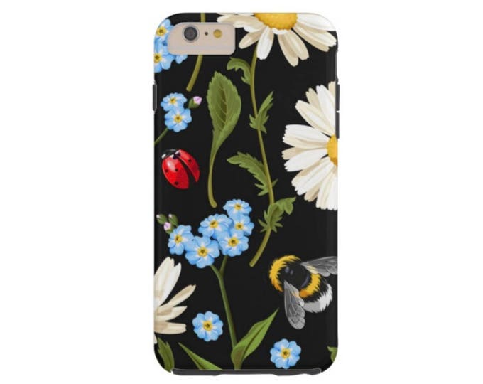 READY 2 SHIP Flowers & Insects iPhone 6/6S Case-Mate TOUGH Case/Cover Blue Daisy/Ladybug/Bug/Bee Red/Yellow/Green Black Floral Print/Pattern