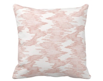 "SALE - OUTDOOR Ikat Print Throw Pillow Cover, Salmon/White 20"" Sq Pillow Covers, Pink Abstract Painted Modern/Lines/Geometric Print"