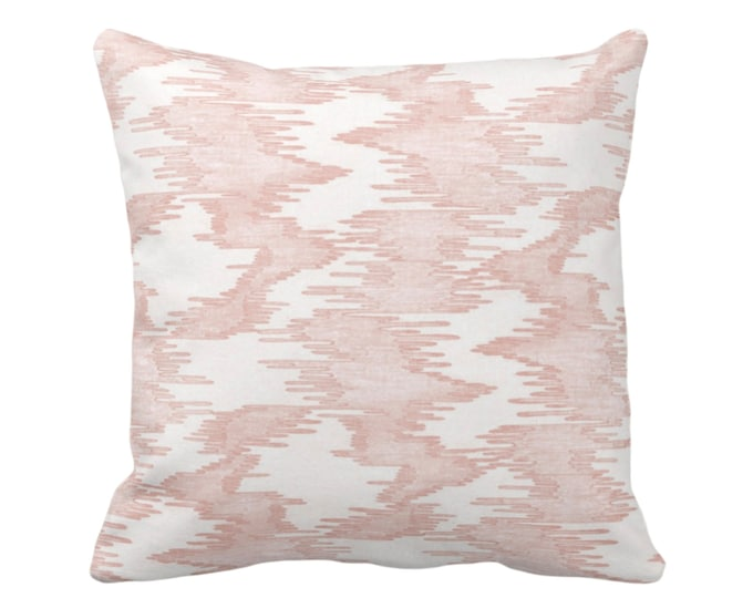 "OUTDOOR - READY 2 SHIP Ikat Print Throw Pillow Cover, Salmon/White 20"" Sq Pillow Covers, Pink Abstract Painted Modern/Lines/Geometric Print"