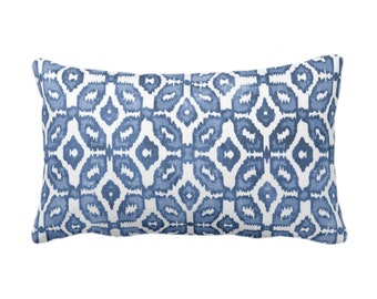 "READY 2 SHIP - Blue Ikat Print Throw Pillow or Cover 14 x 20"" Lumbar Pillows/Covers, Indigo/White Geometric/Dots/Diamond/Trellis/Geo/Lines"