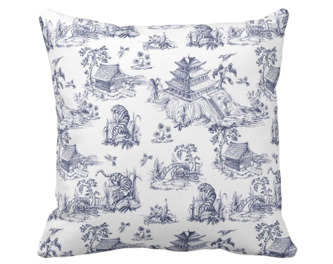 """Tiger Toile Throw Pillow or Cover, 16, 18, 20 or 26"""" Sq Pillows or Covers, White & Navy Blue Print/Pattern, Pagoda/Chinoiserie/Willow/Palm"""