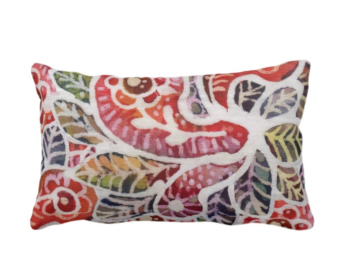 "OUTDOOR Colorful Batik Throw Pillow or Cover 14 x 20"" Lumbar Pillows/Covers, Rainbow Boho/Jungalo Vintage Thai/Indonesian/Maio/Tribal Print"