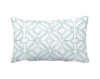"Tribal Trellis Throw Pillow or Cover, Teal/White 14 x 20"" Lumbar/Oblong Pillows/Covers, Blue Geo/Geometric/Diamond/Triangle Print/Pattern"