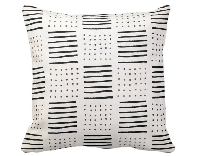 "OUTDOOR Mud Cloth Print Throw Pillow or Cover, Lines/Dots Off-White/Black 14, 16, 18, 20, 26"" Sq Pillows/Covers, Mudcloth/Geo/Boho/Tribal"