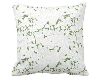 """OUTDOOR Wildflowers Throw Pillow, Moss/White 16, 18, 20 or 26"""" Sq Pillows, Olive Green Floral/Flower/Retro/Vintage/Modern Print/Pattern"""
