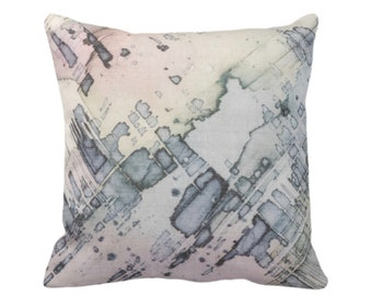 "OUTDOOR Abstract Watercolor Throw Pillow/Cover Multi-Colored Pastels Organic Pattern 14, 16, 18, 20, 26"" Sq Pillows/Covers, Purple/Pink/Blue"