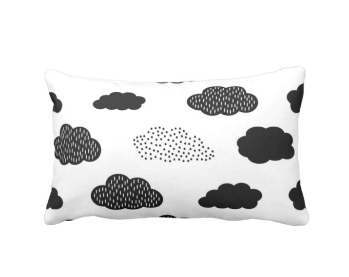 "Clouds Throw Pillow or Cover, Modern Nursery Black/White 14 x 20"" Lumbar Pillows/Covers, Gender Neutral/Fun/Cloud/Sky/Graphic Print/Pattern"