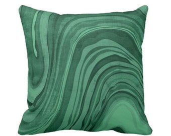 "OUTDOOR Marbled Print Pillow or Cover, Emerald 16, 18 or 20"" Square Pillows or Covers Deep/Jewel Tone Green Marble/Swirl/Lines/Waves"