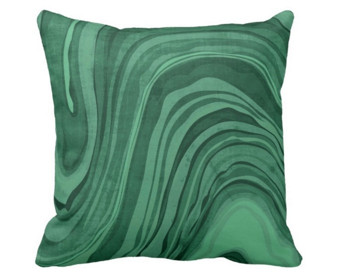 """OUTDOOR Marbled Print Pillow or Cover, Emerald 16, 18 or 20"""" Square Pillows or Covers Deep/Jewel Tone Green Marble/Swirl/Lines/Waves"""