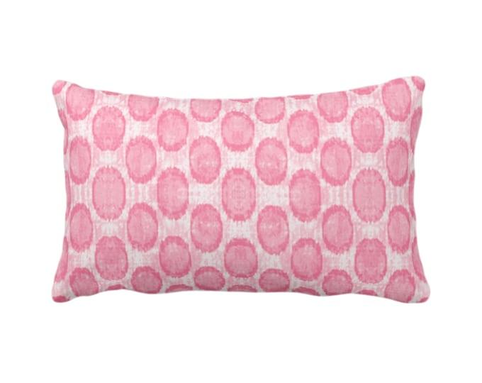 """OUTDOOR Ikat Ovals Print Throw Pillow/Cover 14 x 20"""" Lumbar/Oblong Pillows/Covers, Petal Pink Geometric/Circles/Dots/Dot/Geo/Polka Pattern"""