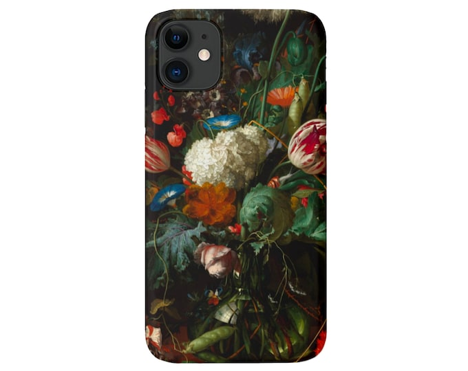 Dutch FLORAL iPhone 11, XS, XR, X, 7/8, 6/6S, Pro/Max/P/Plus Snap Case or Tough Protective Cover, Still Life/Flowers, Black/Colorful/Flowers