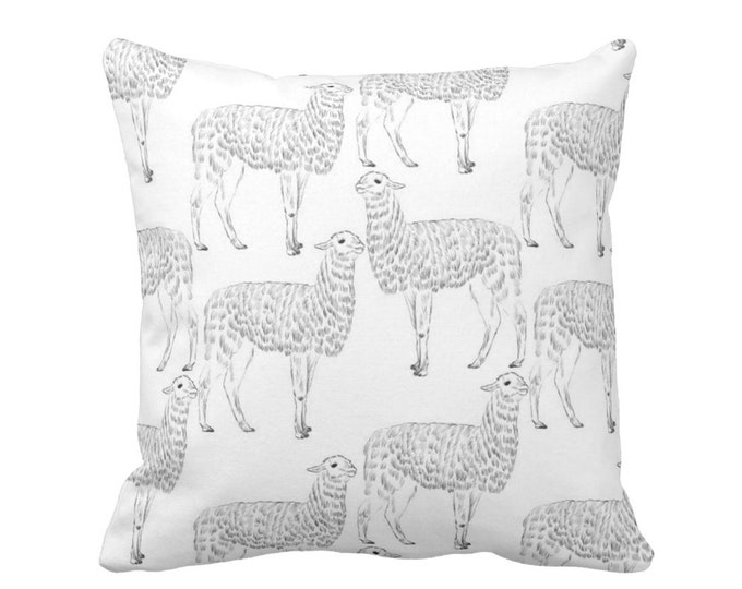 "Llama Print Throw Pillow or Cover, Black/White 14, 16, 18, 20"" Sq Pillows or Covers, Modern Gender Neutral Nursery/Animals/Animal/Llama"