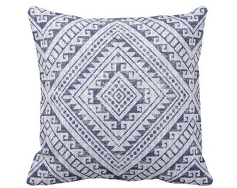 "Diamond Geo Throw Pillow or Cover, Navy 16, 18, 20 or 26"" Sq Pillows or Covers, Blue Geometric/Tribal/Batik/Geo/Boho Print"