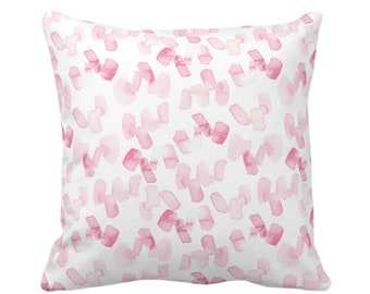 "OUTDOOR Watercolor Confetti Abstract Throw Pillow/Cover, Pink/White 16, 18 or 20"" Sq Pillows/Covers, Minimal/Modern Hand-Dyed Print, Bright"