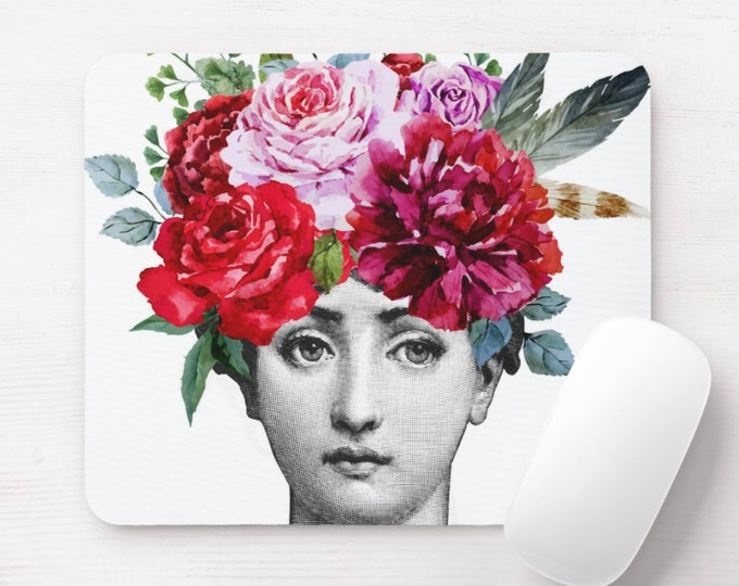 Fornasetti Face with Flowers Print Mouse Pad, Colorful Watercolor Vintage Floral Mousepad