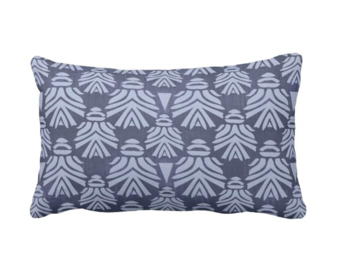 """Block Print African Mask Throw Pillow or Cover, Navy/Indigo 14 x 20"""" Lumbar Pillows or Covers Dark Blue/Indigo Blockprint/Tribal/Boho Print"""