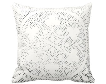 "Batik Medallion Print Throw Pillow or Cover, Off-White/Gray/Black 16, 18, 20, 26"" Sq Pillows or Covers, Floral/Geo/Boho/Tribal/Hmong/Design"
