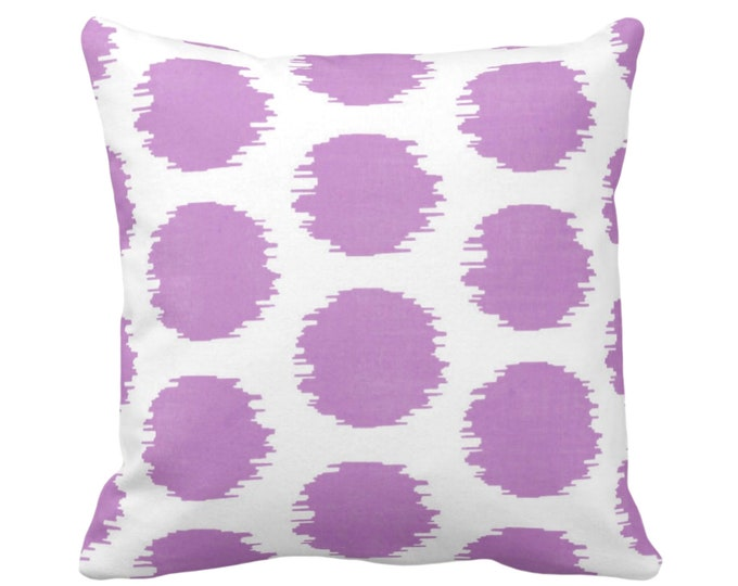 "OUTDOOR Ikat Dot Throw Pillow or Cover, Purple/White 14, 16, 18, 20 or 26"" Sq Pillows or Covers Dots/Spots/Circles/Dotted/Art Print/Pattern"
