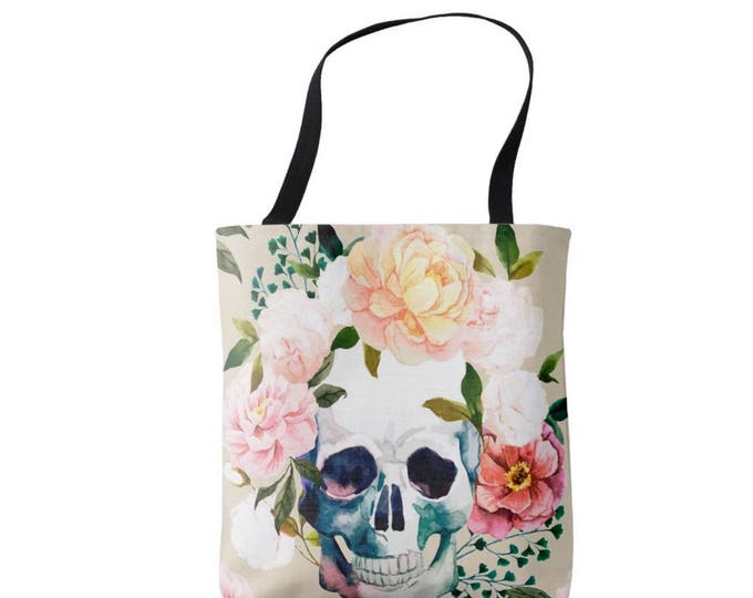 Watercolor Skull with Flowers Market Tote, Vintage Floral Print Bag, Pink, Blue, Peach, Coral