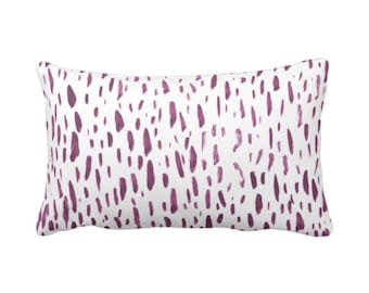 "OUTDOOR Hand-Painted Dashes Throw Pillow or Cover, Plum/White 14 x 20"" Lumbar Pillows or Covers Modern Purple Dots/Dash/Splatter Print"