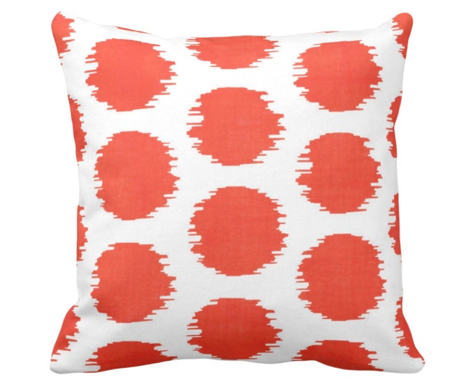 "OUTDOOR Ikat Dot Throw Pillow or Cover, Coral/White 14, 16, 18, 20 or 26"" Sq Pillows or Covers, Dots/Spots/Circles/Dotted/Art Print/Pattern"